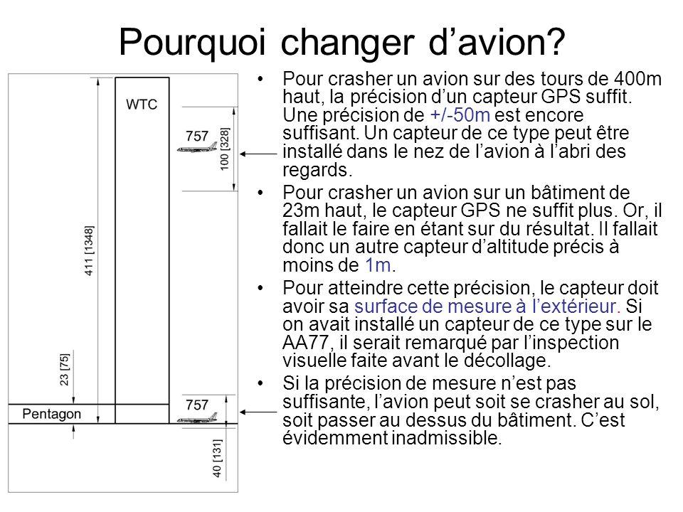 Pourquoi changer davion? Pour crasher un avion sur des tours de 400m haut, la précision dun capteur GPS suffit. Une précision de +/-50m est encore suf