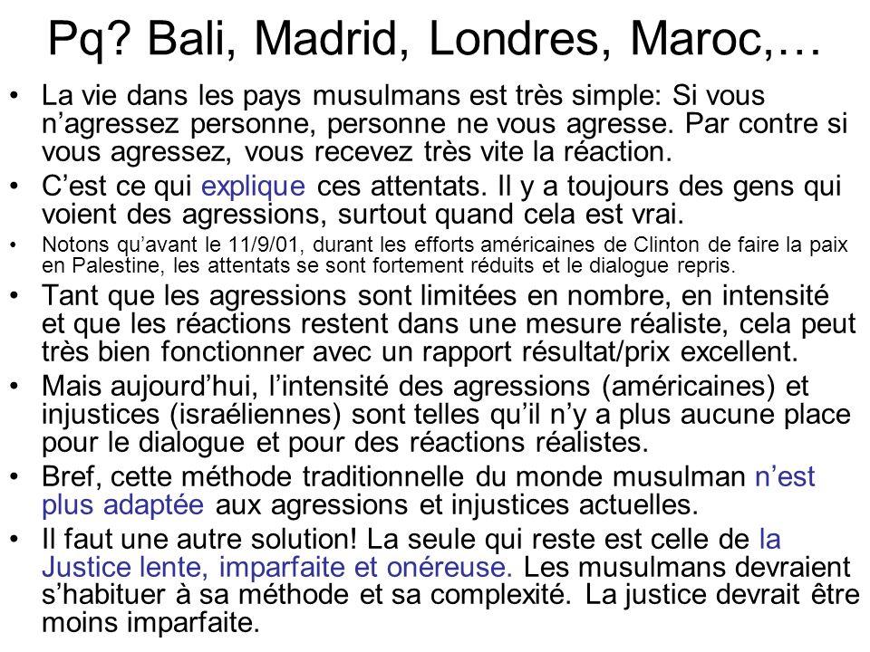 Pq? Bali, Madrid, Londres, Maroc,… La vie dans les pays musulmans est très simple: Si vous nagressez personne, personne ne vous agresse. Par contre si