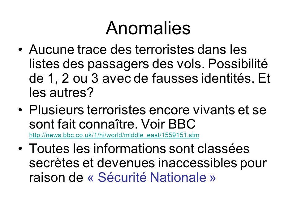 Anomalies Aucune trace des terroristes dans les listes des passagers des vols. Possibilité de 1, 2 ou 3 avec de fausses identités. Et les autres? Plus