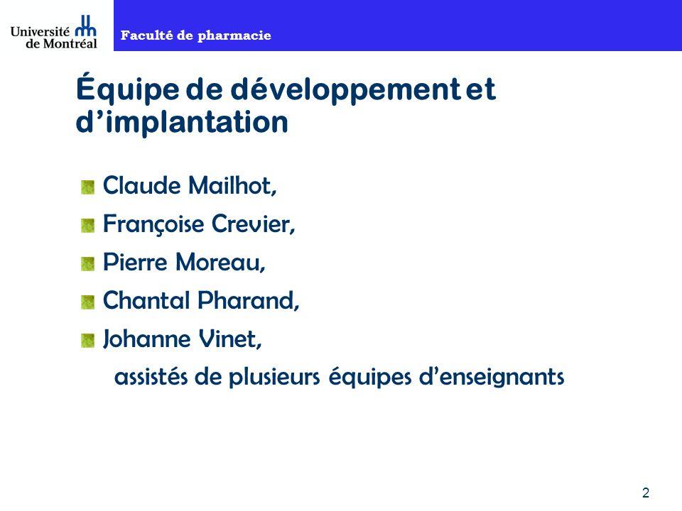 Faculté de pharmacie 2 Équipe de développement et dimplantation Claude Mailhot, Françoise Crevier, Pierre Moreau, Chantal Pharand, Johanne Vinet, assistés de plusieurs équipes denseignants