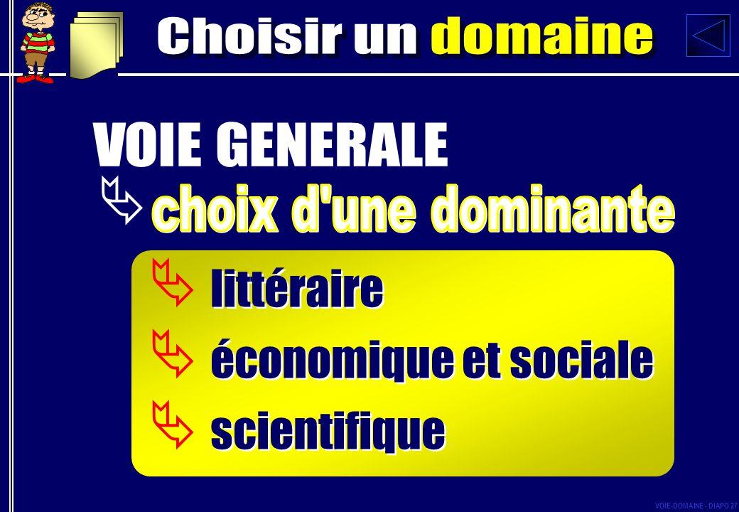 littéraire économique et sociale scientifique littéraire économique et sociale scientifique VOIE-DOMAINE - DIAPO 27