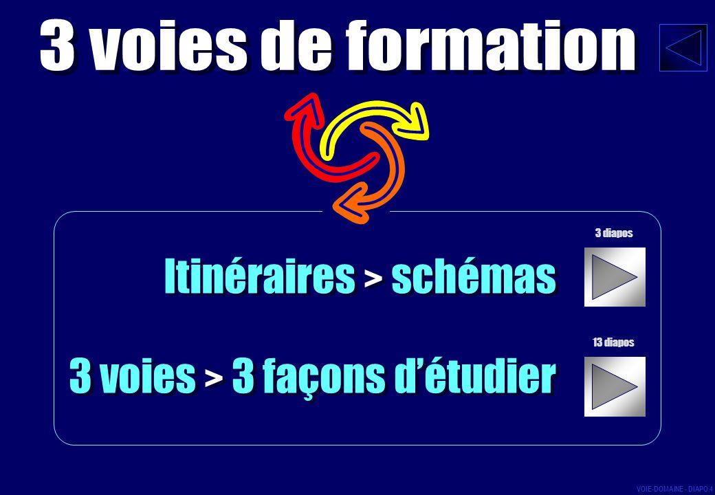 Itinéraires > schémas 3 voies > 3 façons détudier Itinéraires > schémas 3 voies > 3 façons détudier 3 diapos 13 diapos VOIE-DOMAINE - DIAPO 4