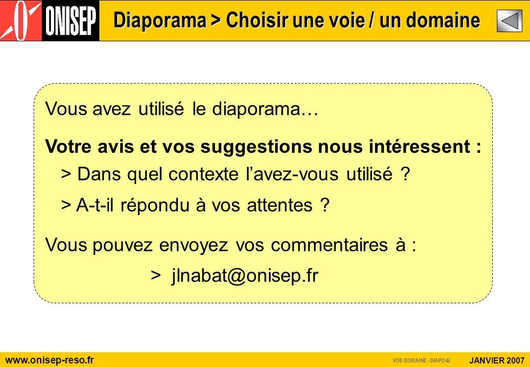 www.onisep-reso.fr JANVIER 2007 Vous avez utilisé le diaporama… Votre avis et vos suggestions nous intéressent : > Dans quel contexte lavez-vous utilisé .