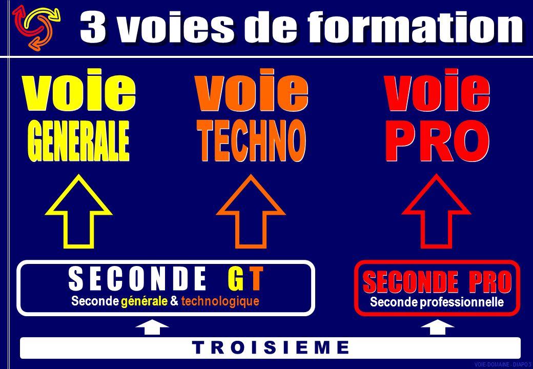 SECONDE PRO Seconde professionnelle T R O I S I E M E S E C O N D E G T Seconde générale & technologique VOIE-DOMAINE - DIAPO 5