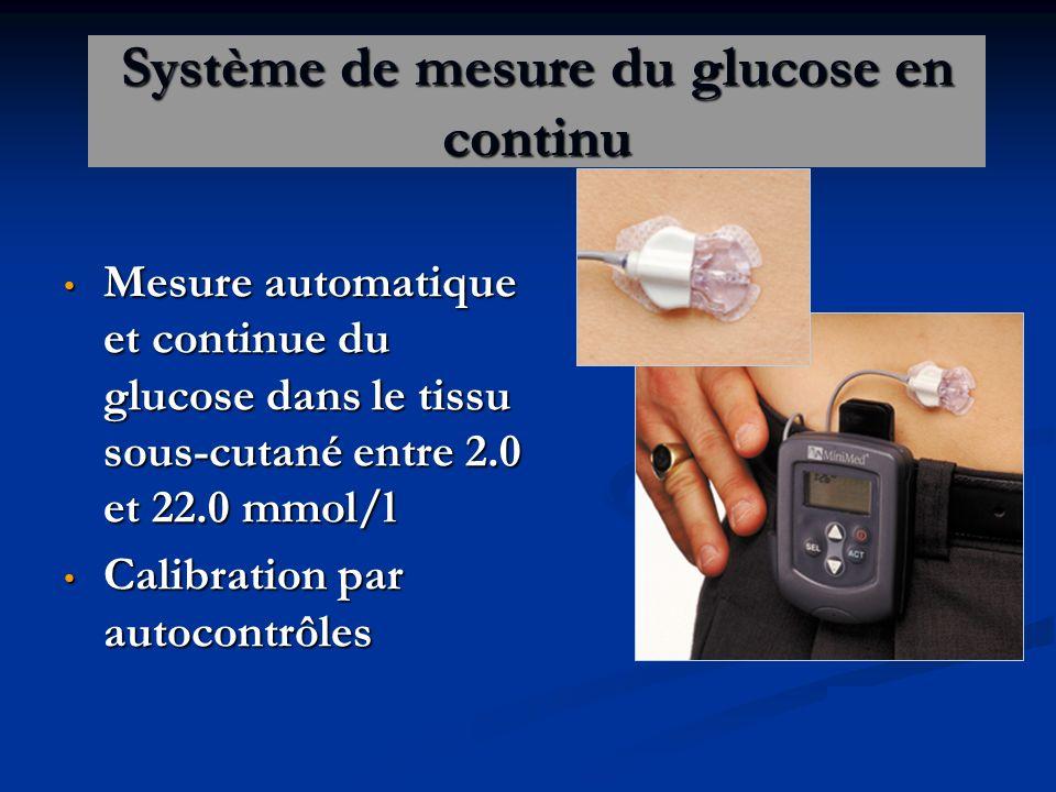 Système de mesure du glucose en continu Mesure automatique et continue du glucose dans le tissu sous-cutané entre 2.0 et 22.0 mmol/l Mesure automatique et continue du glucose dans le tissu sous-cutané entre 2.0 et 22.0 mmol/l Calibration par autocontrôles Calibration par autocontrôles