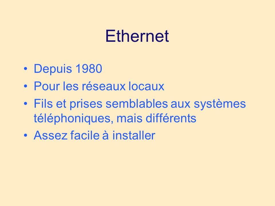 Ethernet Depuis 1980 Pour les réseaux locaux Fils et prises semblables aux systèmes téléphoniques, mais différents Assez facile à installer
