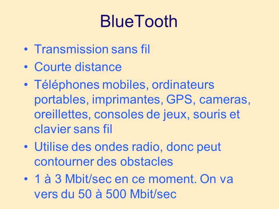 BlueTooth Transmission sans fil Courte distance Téléphones mobiles, ordinateurs portables, imprimantes, GPS, cameras, oreillettes, consoles de jeux, souris et clavier sans fil Utilise des ondes radio, donc peut contourner des obstacles 1 à 3 Mbit/sec en ce moment.