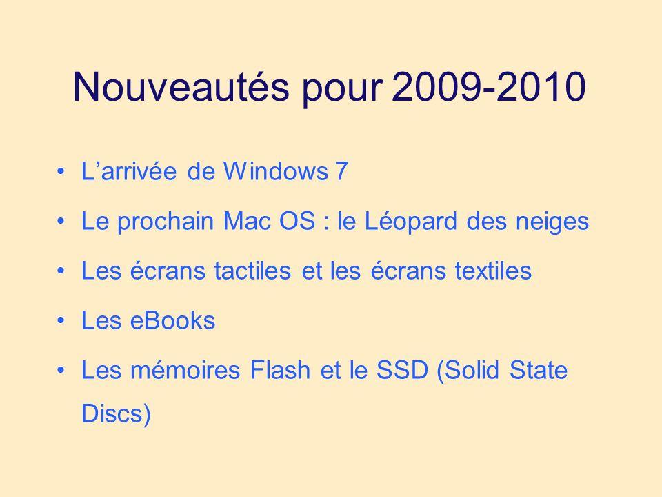 Nouveautés pour 2009-2010 Larrivée de Windows 7 Le prochain Mac OS : le Léopard des neiges Les écrans tactiles et les écrans textiles Les eBooks Les mémoires Flash et le SSD (Solid State Discs)