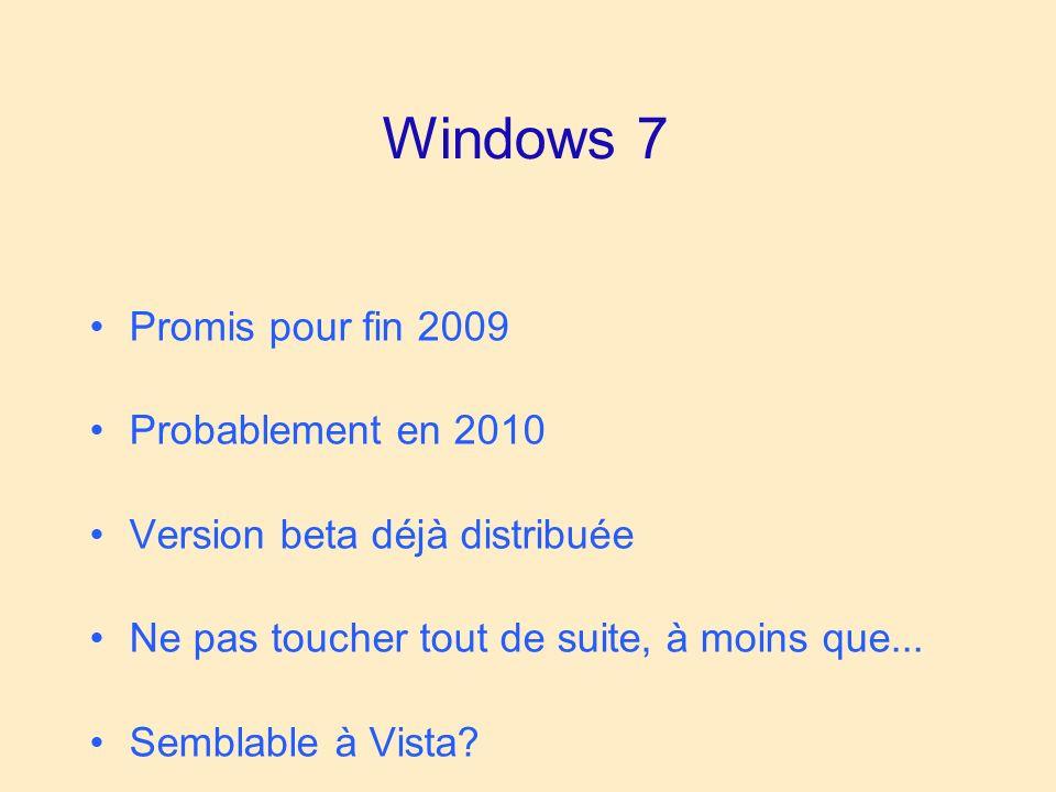 Windows 7 Promis pour fin 2009 Probablement en 2010 Version beta déjà distribuée Ne pas toucher tout de suite, à moins que...