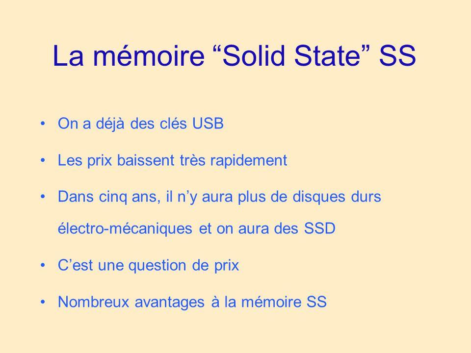 La mémoire Solid State SS On a déjà des clés USB Les prix baissent très rapidement Dans cinq ans, il ny aura plus de disques durs électro-mécaniques et on aura des SSD Cest une question de prix Nombreux avantages à la mémoire SS