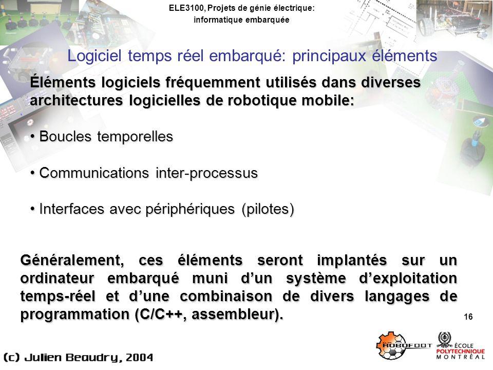ELE3100, Projets de génie électrique: informatique embarquée Logiciel temps réel embarqué: principaux éléments 16 Éléments logiciels fréquemment utili
