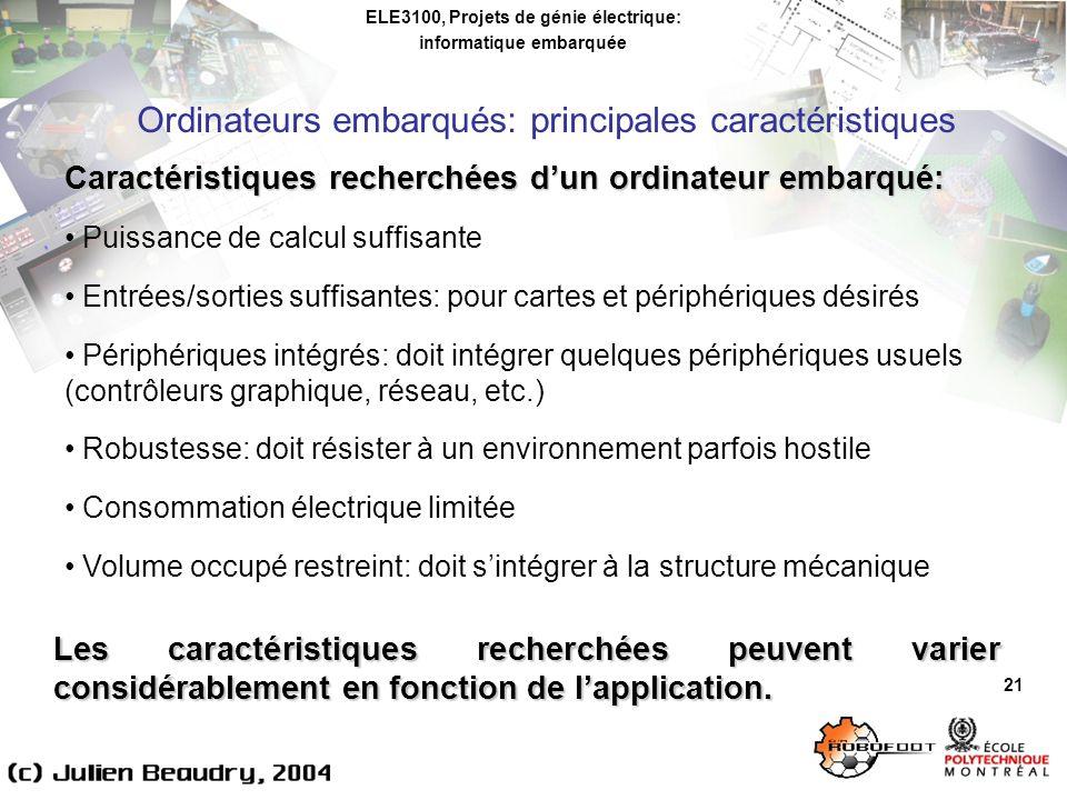 ELE3100, Projets de génie électrique: informatique embarquée Ordinateurs embarqués: principales caractéristiques 21 Caractéristiques recherchées dun o