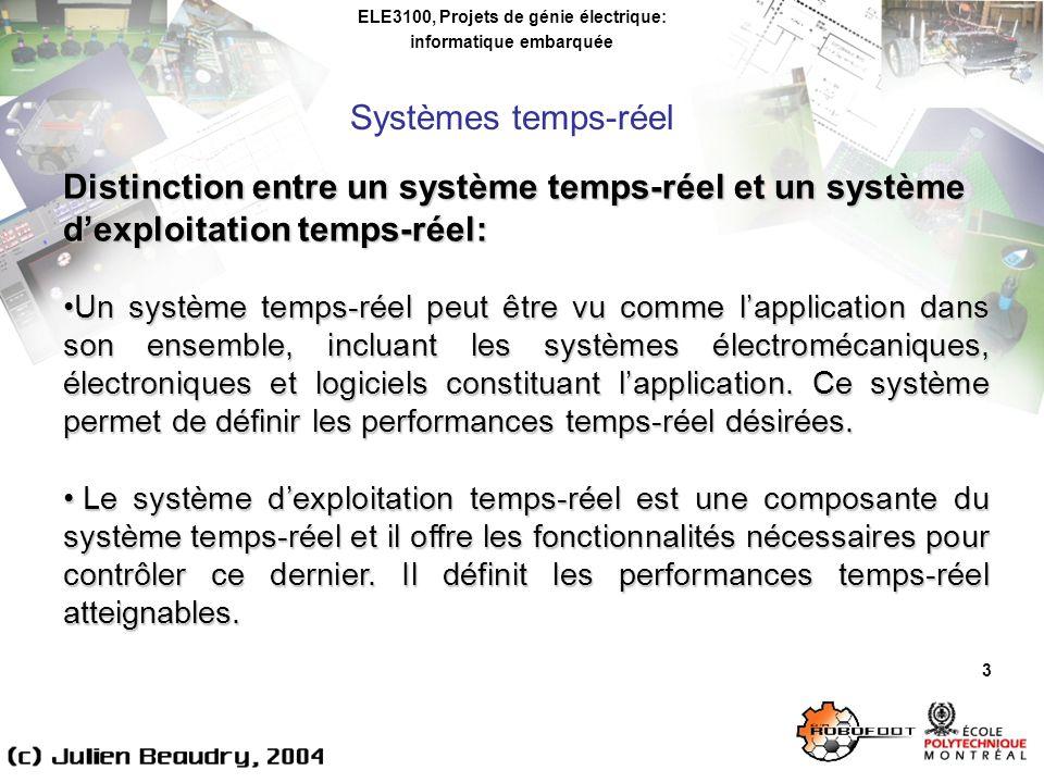 ELE3100, Projets de génie électrique: informatique embarquée Systèmes dexploitation temps-réel 14 Comparaison des minuteries pour quelques systèmes dexploitation: Windows (Windows 2000): * fonction GetTickCount(): résolution de 10ms minuterie Multimedia (winmm.lib): résolution de 2ms Linux (RedHat 7.x): * fonction gettimeofday(): résolution de 10ms possibilité damélioration et respect du standard POSIX avec RT- Linux ou RTAI possibilité dutiliser les ticks CPU pour plus de précision