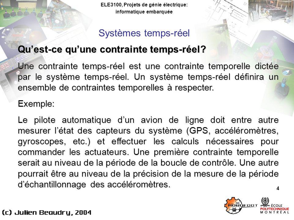 ELE3100, Projets de génie électrique: informatique embarquée Systèmes dexploitation temps-réel 15 Comparaison des minuteries des systèmes dexploitation utilisés au laboratoire: QNX (Neutrino 6.2): * fonction clock_gettime(): résolution de 10ms par défaut, peut être diminuée jusquà lordre du 0.1ms (par la fonction ClockPeriod()) possibilité dutiliser les ticks CPU pour plus de précision *: méthode employée dans la librairie MICROB