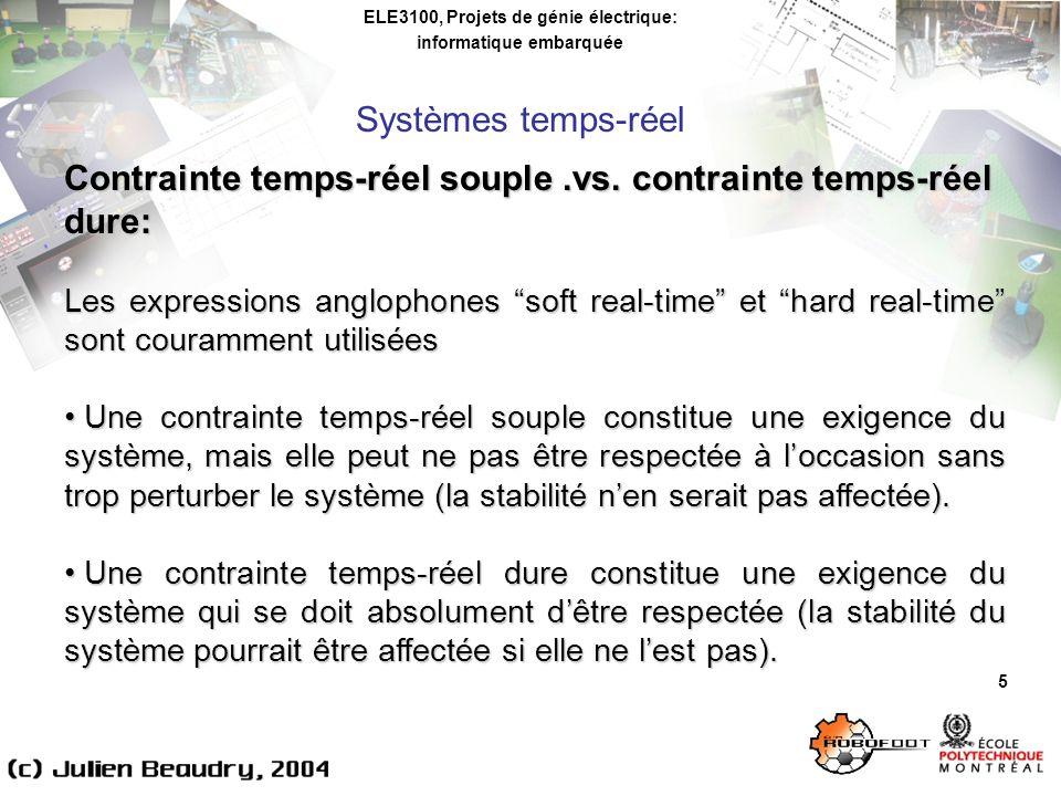 ELE3100, Projets de génie électrique: informatique embarquée Systèmes temps-réel 5 Contrainte temps-réel souple.vs. contrainte temps-réel dure: Les ex