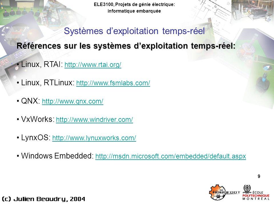 ELE3100, Projets de génie électrique: informatique embarquée Logiciel temps réel embarqué: principaux éléments 20 Communications inter-processus Partage de données entre processus sur un même ordinateur (POSIX.4 chapitre 4): messages, mémoire partagée (ex.: classe Shmem de MICROB)Partage de données entre processus sur un même ordinateur (POSIX.4 chapitre 4): messages, mémoire partagée (ex.: classe Shmem de MICROB) Communications entre processus distribués: communication socket par protocole UDP ou TCP/IP (plus fréquent) (ex.
