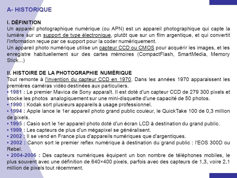 A- HISTORIQUE I. DÉFINITION Un appareil photographique numérique (ou APN) est un appareil photographique qui capte la lumière sur un support de type é