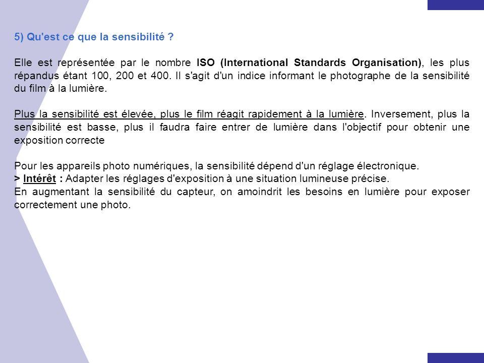 5) Qu'est ce que la sensibilité ? Elle est représentée par le nombre ISO (International Standards Organisation), les plus répandus étant 100, 200 et 4