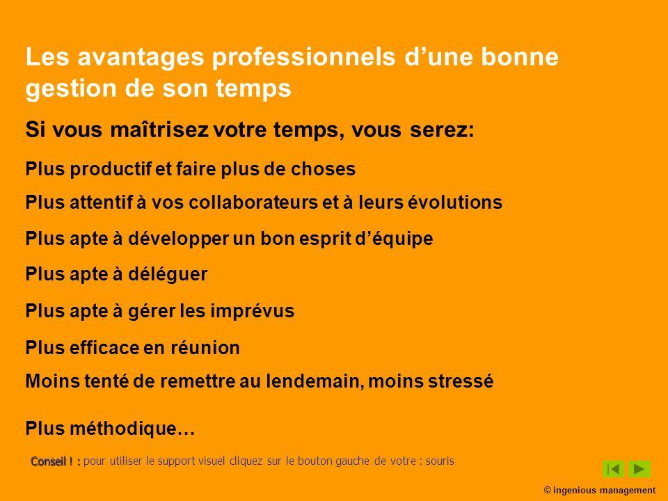 Les avantages professionnels dune bonne gestion de son temps Si vous maîtrisez votre temps, vous serez: Plus attentif à vos collaborateurs et à leurs
