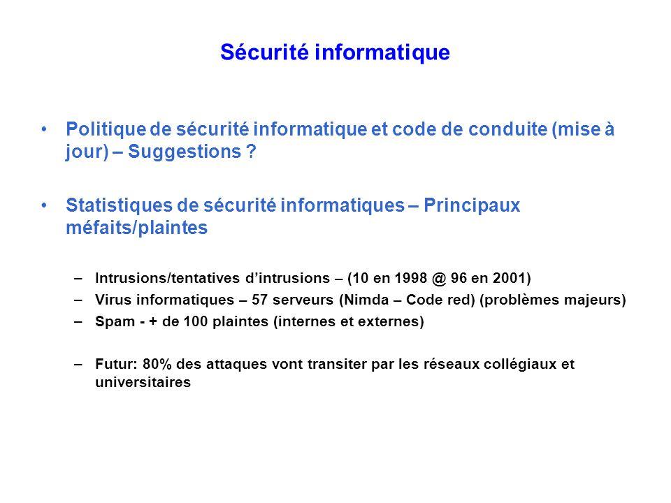 Sécurité informatique Politique de sécurité informatique et code de conduite (mise à jour) – Suggestions ? Statistiques de sécurité informatiques – Pr