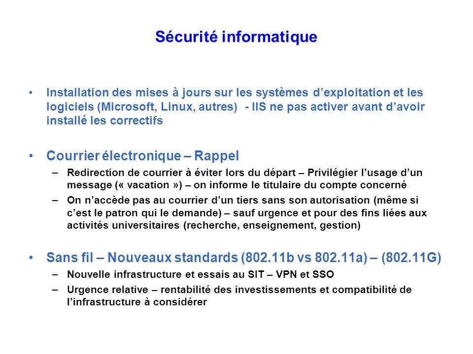 Sécurité informatique Installation des mises à jours sur les systèmes dexploitation et les logiciels (Microsoft, Linux, autres) - IIS ne pas activer a