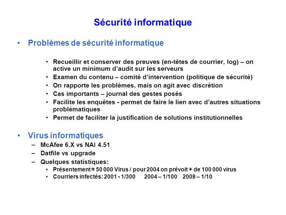 Sécurité informatique Problèmes de sécurité informatique Recueillir et conserver des preuves (en-têtes de courrier, log) – on active un minimum daudit