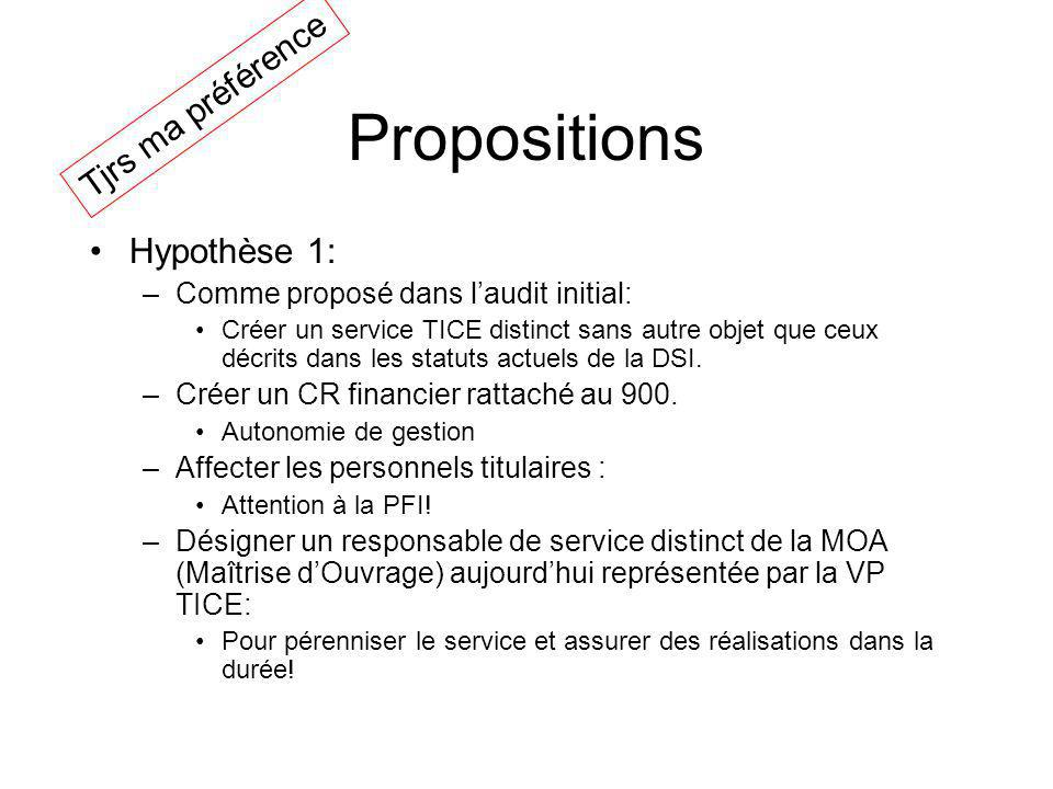 Propositions Hypothèse 1: –Comme proposé dans laudit initial: Créer un service TICE distinct sans autre objet que ceux décrits dans les statuts actuels de la DSI.