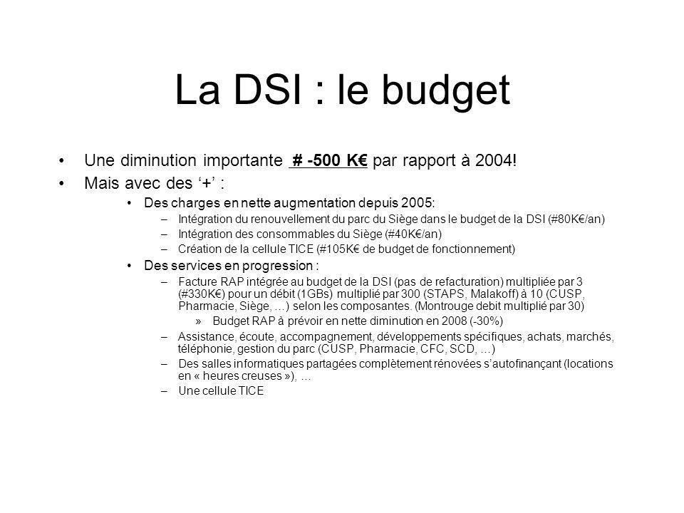 La DSI : le budget Une diminution importante # -500 K par rapport à 2004.
