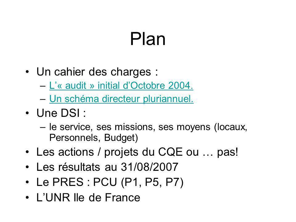 Plan Un cahier des charges : –L« audit » initial dOctobre 2004.L« audit » initial dOctobre 2004.