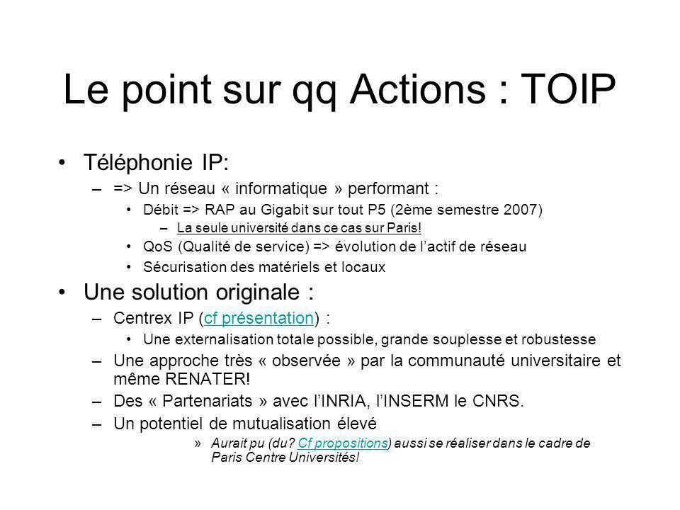 Le point sur qq Actions : TOIP Téléphonie IP: –=> Un réseau « informatique » performant : Débit => RAP au Gigabit sur tout P5 (2ème semestre 2007) –La seule université dans ce cas sur Paris.