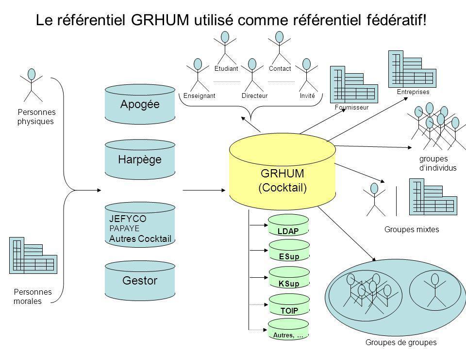 GRHUM (Cocktail) Personnes physiques Personnes morales groupes dindividus Groupes mixtes Groupes de groupes LDAP Le référentiel GRHUM utilisé comme référentiel fédératif.