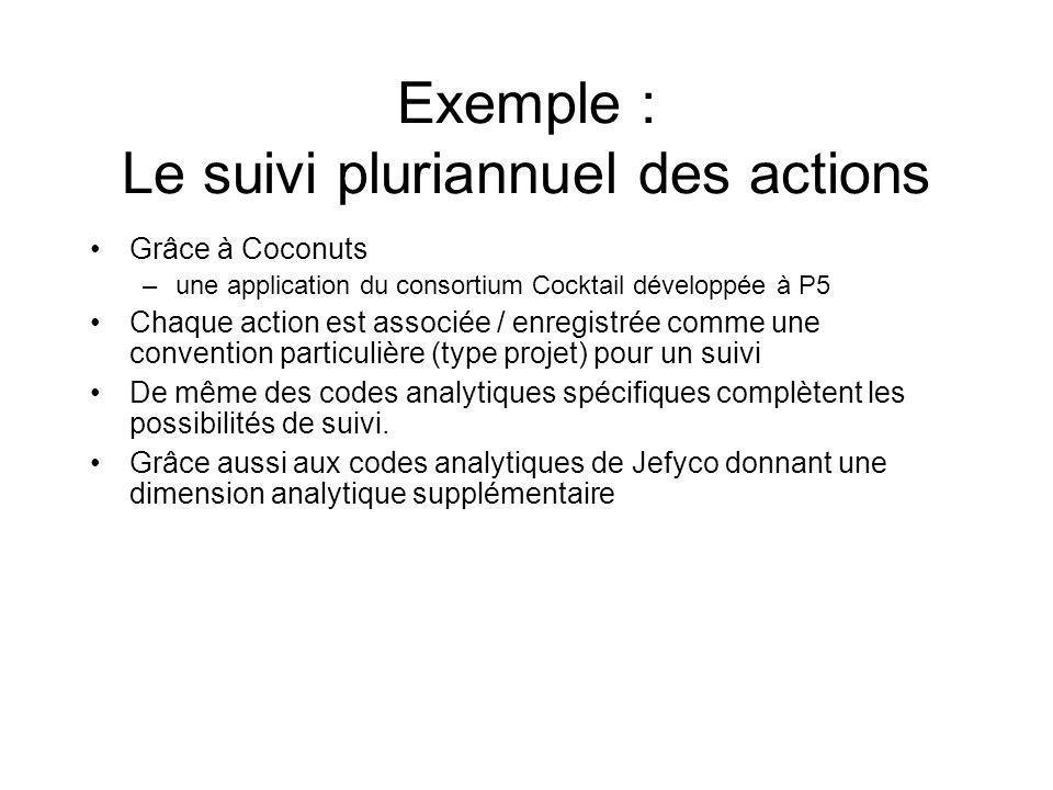 Exemple : Le suivi pluriannuel des actions Grâce à Coconuts –une application du consortium Cocktail développée à P5 Chaque action est associée / enregistrée comme une convention particulière (type projet) pour un suivi De même des codes analytiques spécifiques complètent les possibilités de suivi.