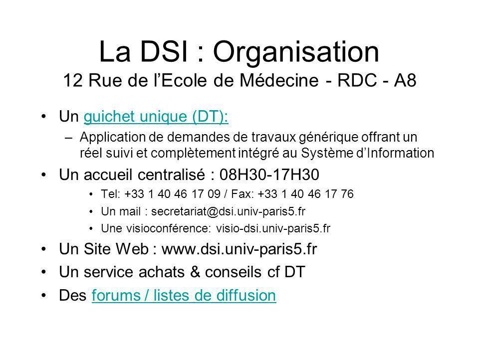 La DSI : Organisation 12 Rue de lEcole de Médecine - RDC - A8 Un guichet unique (DT):guichet unique (DT): –Application de demandes de travaux générique offrant un réel suivi et complètement intégré au Système dInformation Un accueil centralisé : 08H30-17H30 Tel: +33 1 40 46 17 09 / Fax: +33 1 40 46 17 76 Un mail : secretariat@dsi.univ-paris5.fr Une visioconférence: visio-dsi.univ-paris5.fr Un Site Web : www.dsi.univ-paris5.fr Un service achats & conseils cf DT Des forums / listes de diffusionforums / listes de diffusion