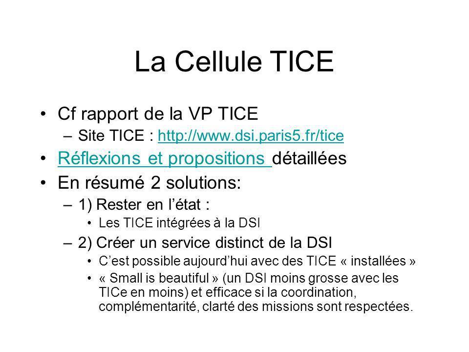La Cellule TICE Cf rapport de la VP TICE –Site TICE : http://www.dsi.paris5.fr/ticehttp://www.dsi.paris5.fr/tice Réflexions et propositions détailléesRéflexions et propositions En résumé 2 solutions: –1) Rester en létat : Les TICE intégrées à la DSI –2) Créer un service distinct de la DSI Cest possible aujourdhui avec des TICE « installées » « Small is beautiful » (un DSI moins grosse avec les TICe en moins) et efficace si la coordination, complémentarité, clarté des missions sont respectées.