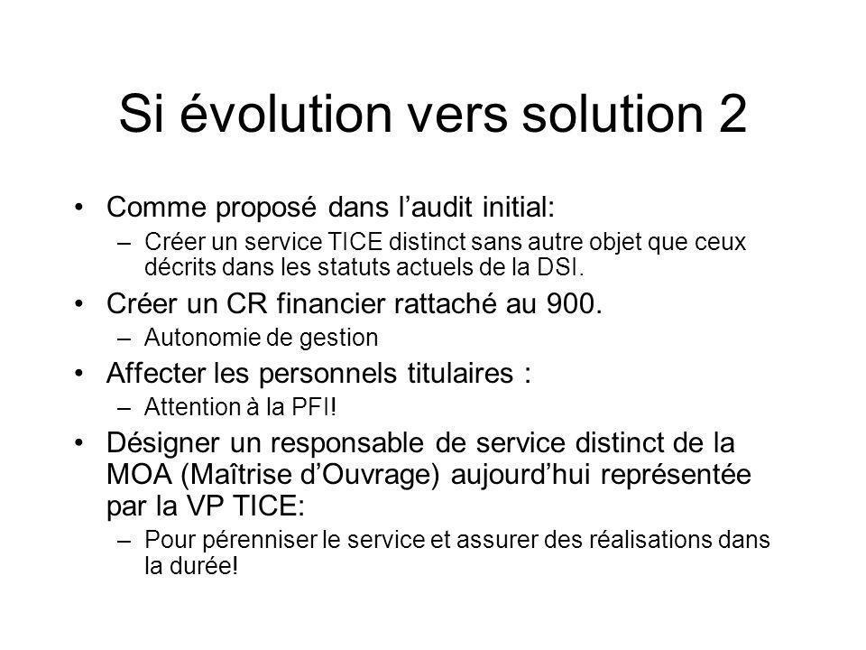 Si évolution vers solution 2 Comme proposé dans laudit initial: –Créer un service TICE distinct sans autre objet que ceux décrits dans les statuts actuels de la DSI.
