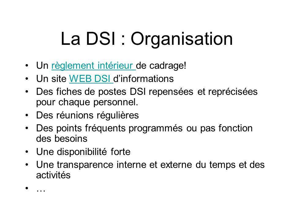 La DSI : Organisation Un règlement intérieur de cadrage!règlement intérieur Un site WEB DSI dinformationsWEB DSI Des fiches de postes DSI repensées et reprécisées pour chaque personnel.