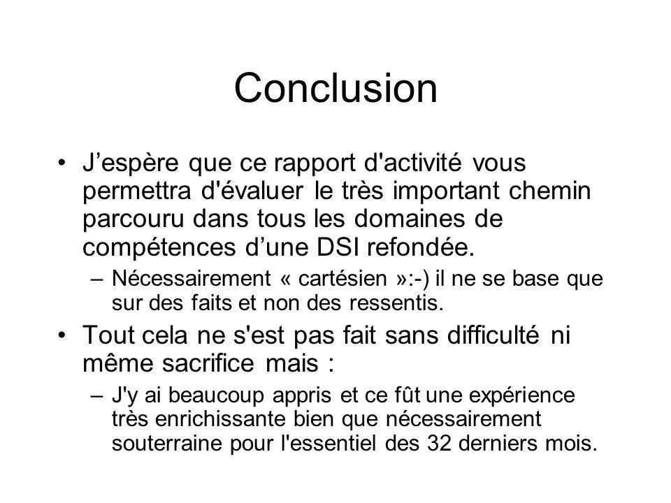 Conclusion Jespère que ce rapport d activité vous permettra d évaluer le très important chemin parcouru dans tous les domaines de compétences dune DSI refondée.