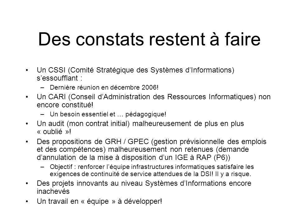 Des constats restent à faire Un CSSI (Comité Stratégique des Systèmes dInformations) sessoufflant : –Dernière réunion en décembre 2006.
