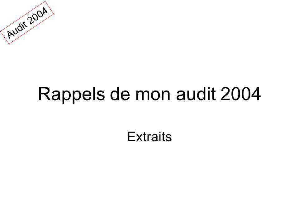 Rappels de mon audit 2004 Extraits Audit 2004