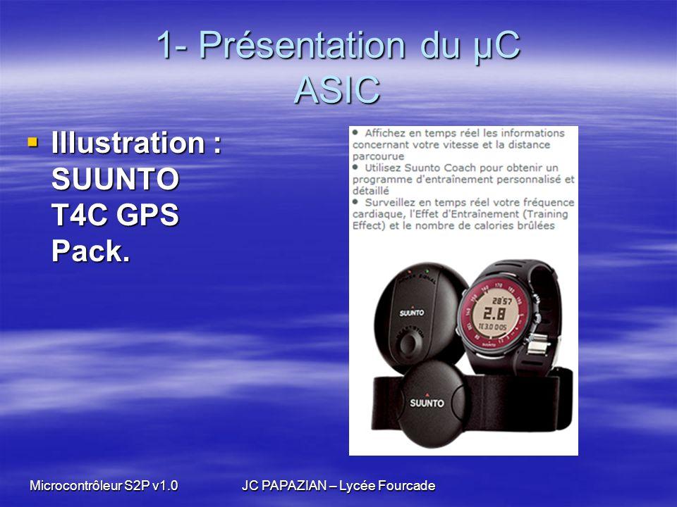 Microcontrôleur S2P v1.0JC PAPAZIAN – Lycée Fourcade 1- Présentation du µC ASIC Illustration : SUUNTO T4C GPS Pack. Illustration : SUUNTO T4C GPS Pack