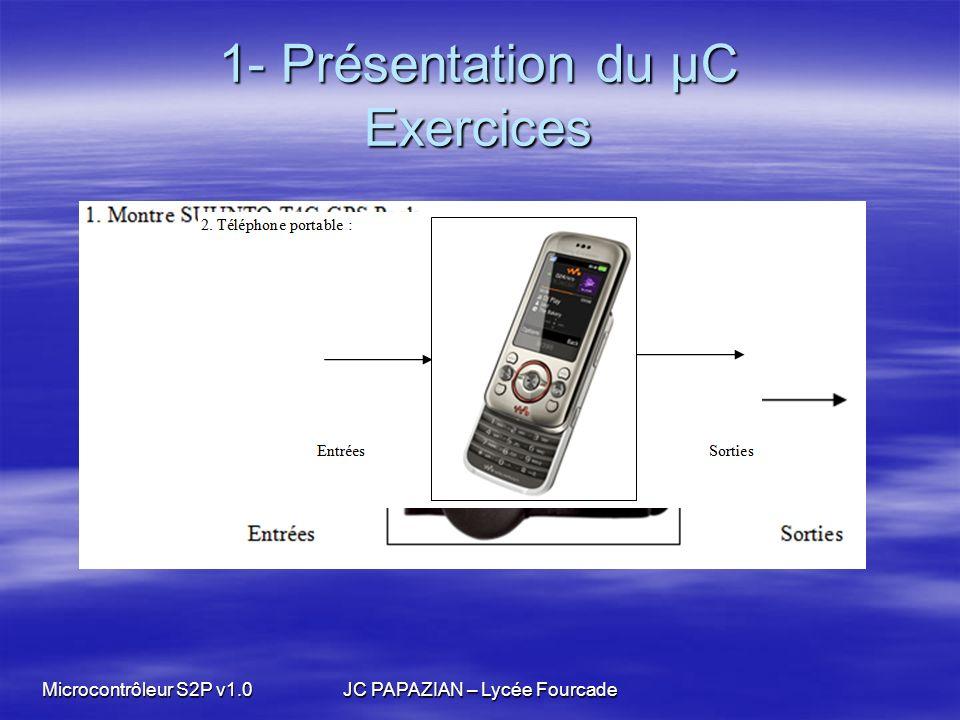 Microcontrôleur S2P v1.0JC PAPAZIAN – Lycée Fourcade 1- Présentation du µC Exercices