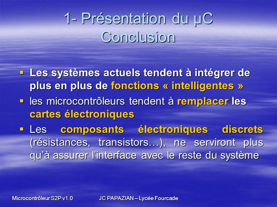 Microcontrôleur S2P v1.0JC PAPAZIAN – Lycée Fourcade 1- Présentation du µC Conclusion Les systèmes actuels tendent à intégrer de plus en plus de fonct