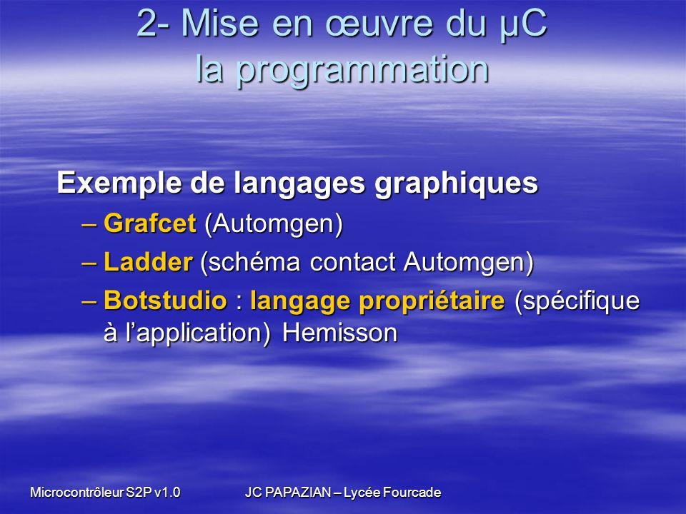 Microcontrôleur S2P v1.0JC PAPAZIAN – Lycée Fourcade 2- Mise en œuvre du µC la programmation Exemple de langages graphiques Exemple de langages graphi