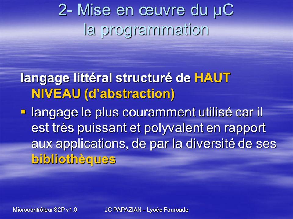 Microcontrôleur S2P v1.0JC PAPAZIAN – Lycée Fourcade 2- Mise en œuvre du µC la programmation langage littéral structuré de HAUT NIVEAU (dabstraction)