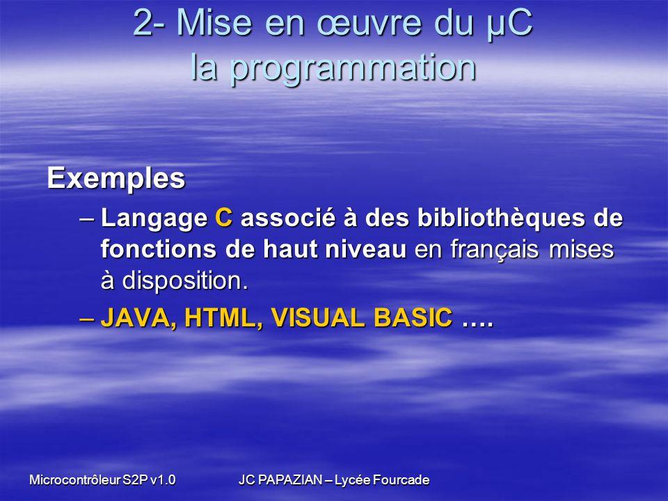Microcontrôleur S2P v1.0JC PAPAZIAN – Lycée Fourcade 2- Mise en œuvre du µC la programmation Exemples Exemples –Langage C associé à des bibliothèques