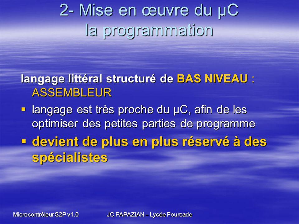 Microcontrôleur S2P v1.0JC PAPAZIAN – Lycée Fourcade 2- Mise en œuvre du µC la programmation langage littéral structuré de BAS NIVEAU : ASSEMBLEUR lan