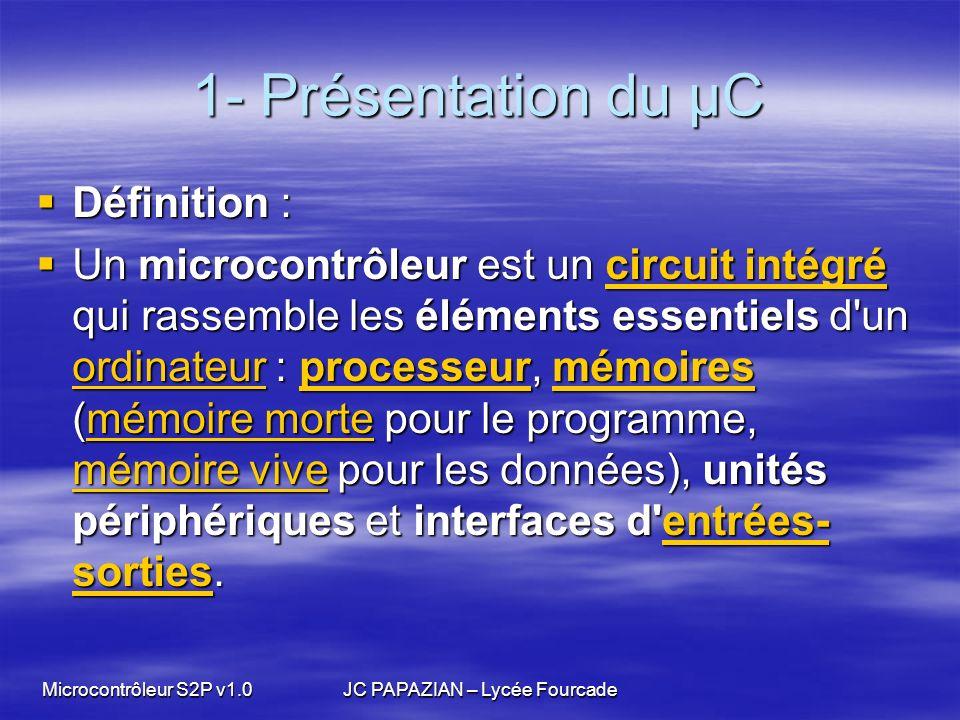 Microcontrôleur S2P v1.0JC PAPAZIAN – Lycée Fourcade 1- Présentation du µC Conclusion Les systèmes actuels tendent à intégrer de plus en plus de fonctions « intelligentes » Les systèmes actuels tendent à intégrer de plus en plus de fonctions « intelligentes » les microcontrôleurs tendent à remplacer les cartes électroniques les microcontrôleurs tendent à remplacer les cartes électroniques Les composants électroniques discrets (résistances, transistors…), ne serviront plus quà assurer linterface avec le reste du système Les composants électroniques discrets (résistances, transistors…), ne serviront plus quà assurer linterface avec le reste du système