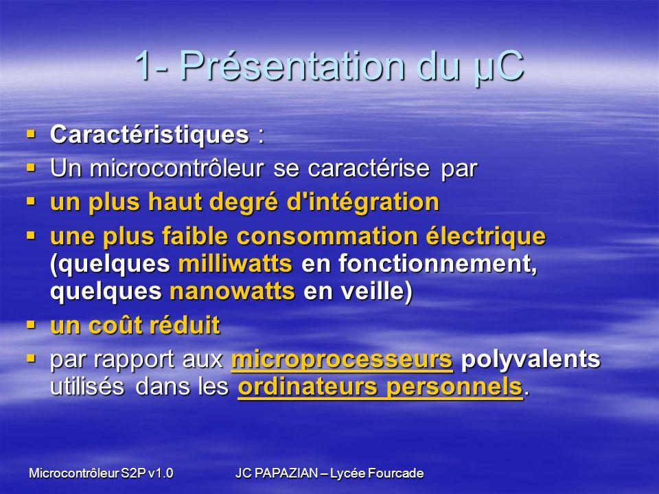 Microcontrôleur S2P v1.0JC PAPAZIAN – Lycée Fourcade 1- Présentation du µC UTILISATIONS : UTILISATIONS : Les microcontrôleurs sont fréquemment utilisés dans les systèmes embarqués, comme les Les microcontrôleurs sont fréquemment utilisés dans les systèmes embarqués, comme lessystèmes embarquéssystèmes embarqués contrôleurs des moteurs automobiles contrôleurs des moteurs automobiles téléphones mobiles téléphones mobiles télécommandes télécommandes appareils électroménagers appareils électroménagers robots robots