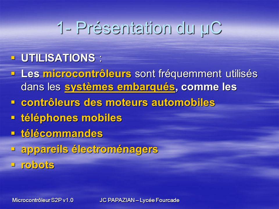 Microcontrôleur S2P v1.0JC PAPAZIAN – Lycée Fourcade 1- Présentation du µC UTILISATIONS : UTILISATIONS : Les microcontrôleurs sont fréquemment utilisé