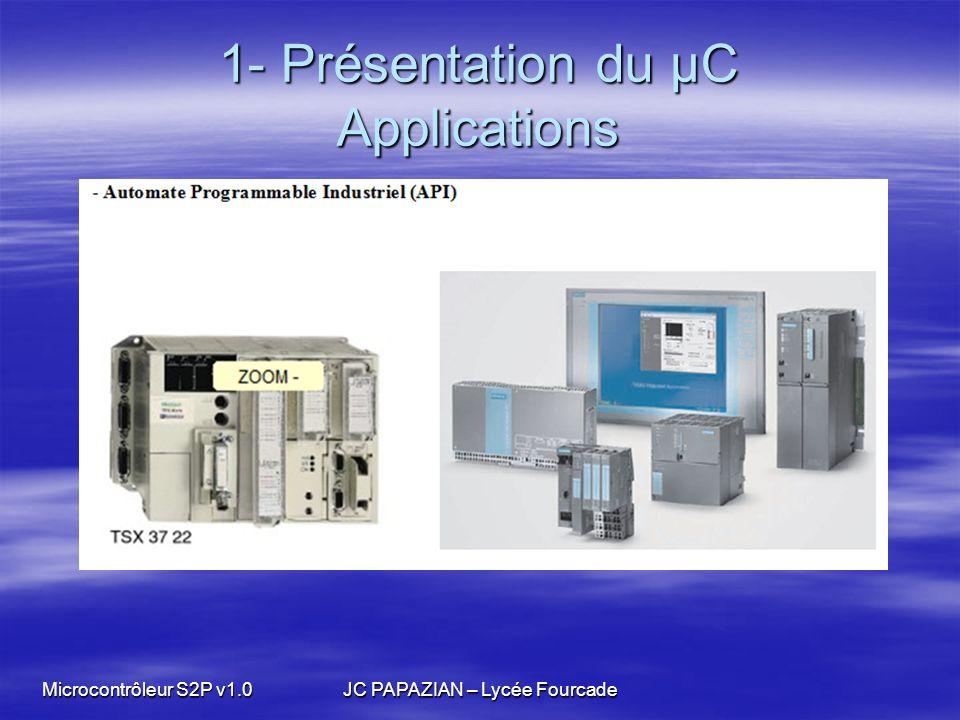 Microcontrôleur S2P v1.0JC PAPAZIAN – Lycée Fourcade 2- Mise en œuvre du µC la programmation Exemples Exemples –Langage C associé à des bibliothèques de fonctions de haut niveau en français mises à disposition.